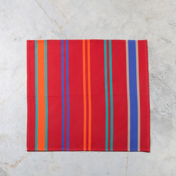 Serviette De Table Basque Idoia Rayure Rouge 50x50 Coton