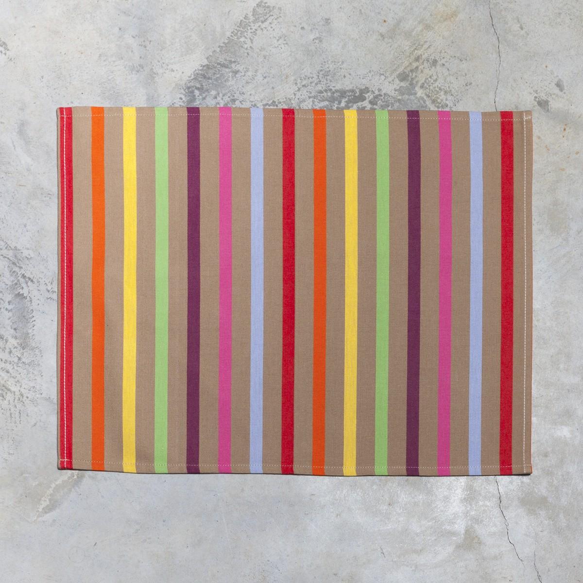 Set de table basque Amaya rayures vert rouge jaune 40x50 coton
