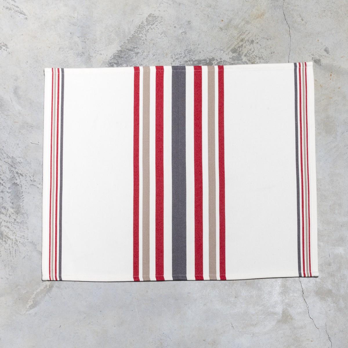 Set de table basque Mante à rayures rouge cordage 40x50