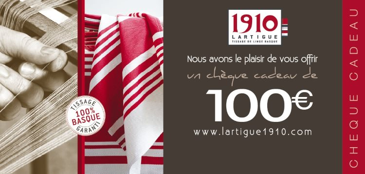 Lartigue 1910 € 100 Gift Voucher, Creator and Weaver of traditional Basque linen