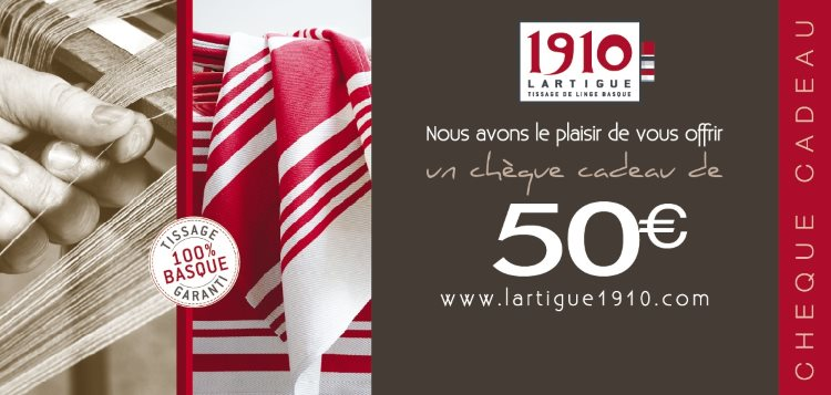 Lartigue 1910 € 50 Gift Voucher, Creator and Weaver of traditional Basque linen