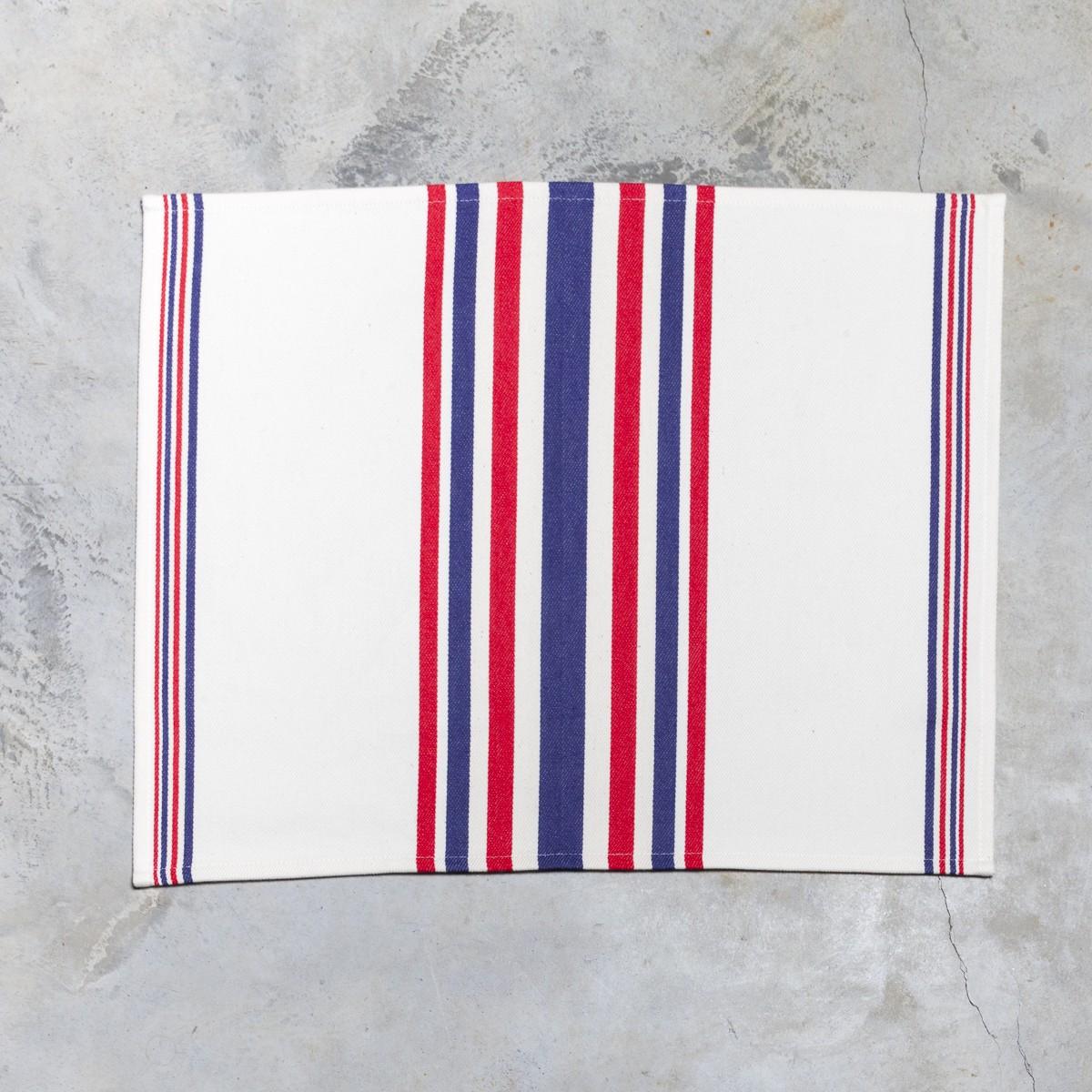 Set De Table Basque Mante A Rayures Rouge Bleu 40x50
