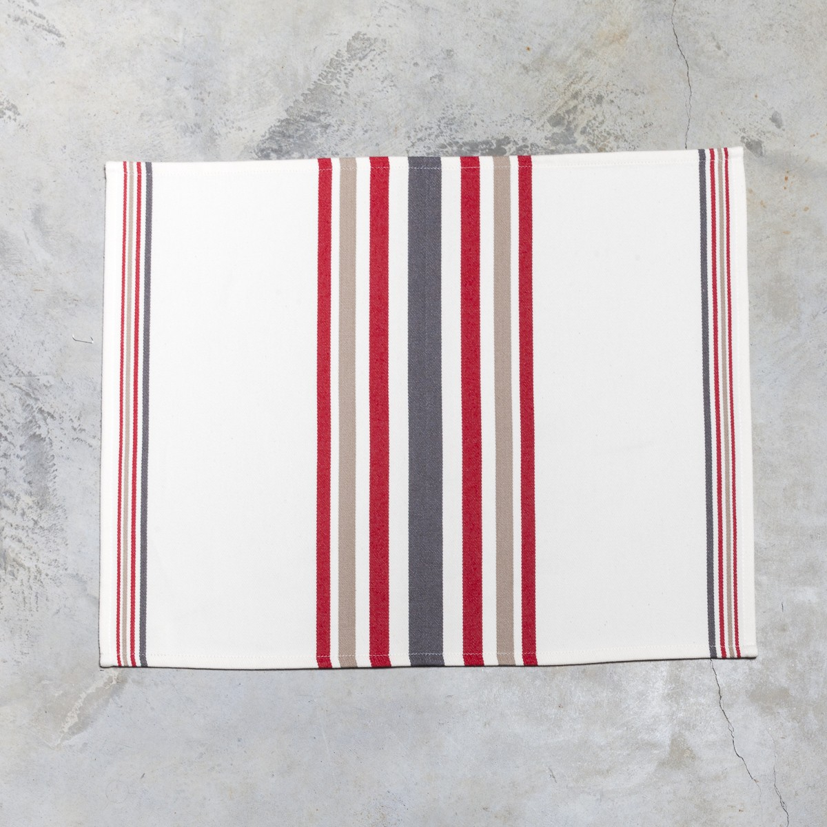 Set de table basque Mante à rayures rouge cordage 10x10