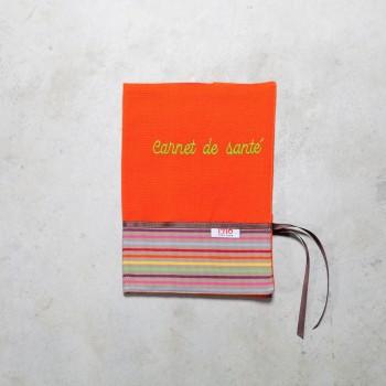 Housse carnet de santé orange