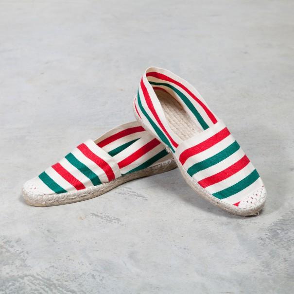 2d0d5f6ea7d47 espadrilles basque Euskal rayures blanches rouges et vertes