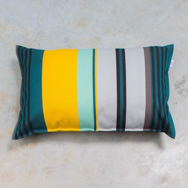 housse et ou coussin milian rayure verte jaune noir bleu coton 45x70. Black Bedroom Furniture Sets. Home Design Ideas