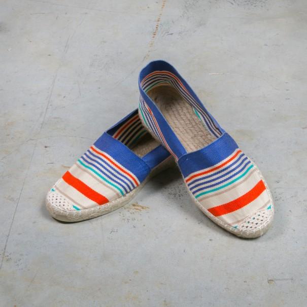 chaussures de séparation ff725 34117 espadrilles adulte femme enfant basques amatio rayure bleu orange