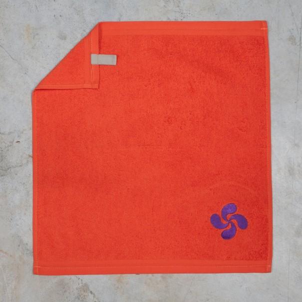 Essuie-mains éponge orange brodé